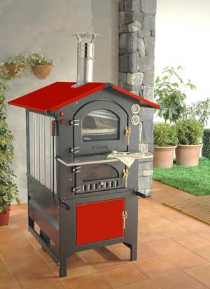 Wood Ovens :: Fontana Forni Rosso 80RV (Red) Wood Fired Pizza Oven ...