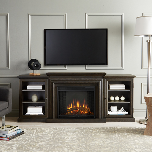 Real Flame Frederick Entertainment Center Electric Fireplace In Teakwood  Gray   7740E GRY
