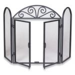 Uniflame 3 Fold Black Wrought Iron Screen with Opening Doors - S-1184