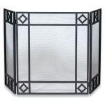 Uniflame 3 Fold Black Wrought Iron Screen with Diamond Design - S-1194