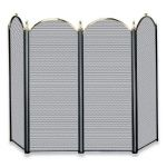 Uniflame 4 Fold Polished Brass/Black Screen (S-3117) - S41010PK