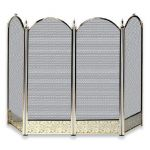 Uniflame 4 Fold Polished Brass Screen with Decorative Filigree
