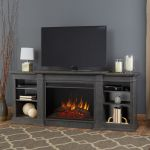 Real Flame Eliot Grand Entertainment Center Electric Fireplace in Antique Gray - 1290E-AGR