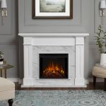 Real Flame Kipling Electric Fireplace in White with Faux Marble - 6030E-WM
