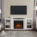 Real Flame Calie Entertainment Center Electric Fireplace in White - 7720E-W