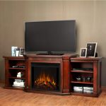 Real Flame Valmont Entertainment Center Electric Fireplace in Dark Mahogany - 7930E-DM