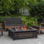 Real Flame Hamilton Rectangle Wood-Burning Fire Pit in Black and Brown with Natural Slate Tile Top - 946-NST