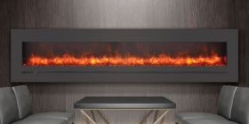 "Amantii / Sierra Flame 88"" Electric Fireplace - Wall Mount / Built-In - WM-FML-88-9623-STL"