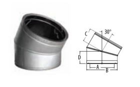 M&G DuraVent 12'' DuraTech 30 Degree Elbow - Stainless Steel - 99266SS // 12DT-E30SS
