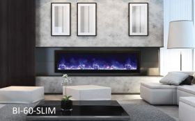 Amantii 60'' Slim Electric Built-in only with black steel surround - BI-60-SLIM