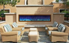 Amantii 72'' Slim Outdoor Electric Built-in only with black steel surround - BI-72-SLIM-OD