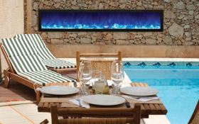 Amantii 88'' Slim Outdoor Electric Built-in only with black steel surround - BI-88-SLIM-OD