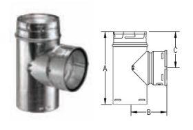 M&G DuraVent 16'' Round Gas Vent Standard Tee - 16GVT // 16GVT