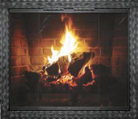 Thermo-Rite Aztec Custom Glass Fireplace Door - Welded Steel - AZTEC (shown in Natural Iron)