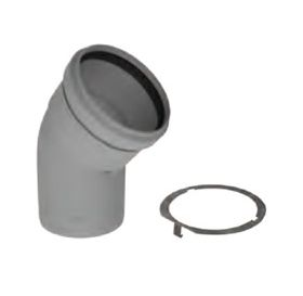 """M&G DuraVent 6"""" PolyPro 45 Degree Elbow with Locking Band - 6PPS-E45L"""