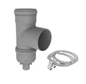 "M&G DuraVent 6"" PolyPro Tee with Drain Cap with Locking Band - 6PPS-TCDL"