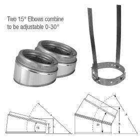 """Selkirk MetalBest 12"""" Ultra-Temp 15 Degree Elbow Kit - 12S-EL15KIT"""