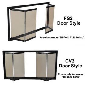 Thermo-Rite Door Styles - Bi-Fold Full Swing Trackless (FS2) or Bi-Fold Tracked (CV2)