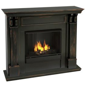 Real Flame Ashley Gel Fuel Wall Fireplace - Black Wash - 7100-BW
