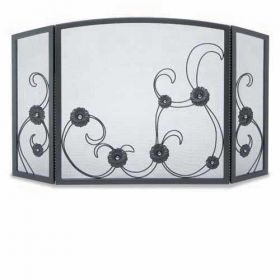Napa Forge 3 Panel Forged Sun Flower Scroll Screen - Black - 19225
