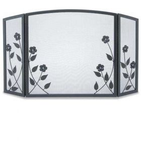Napa Forge 3 Panel Forged Floral Screen - Black - 19228
