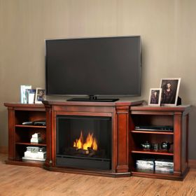 Real Flame Valmont Entertainment Center Gel Fireplace in Dark Mahogany - 7930-DM