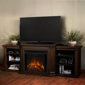 Real Flame Valmont Entertainment Center Electric Fireplace in Chestnut Oak - 7930E-CO