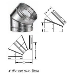 M&G DuraVent 18'' Round Gas Vent 45 Degree Adjustable Elbow - 18GVL45 // 18GVL45