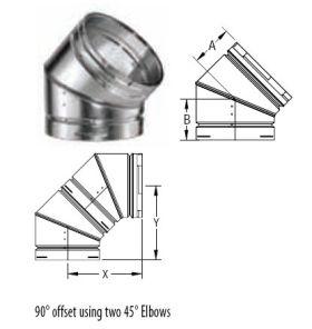 M&G DuraVent 7'' Round Gas Vent 45 Degree Adjustable Elbow - 7GVL45 // 7GVL45