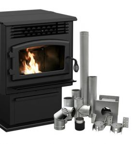 """DP00070KVG - ECO-55 Pellet Stove With 3"""" Ground Floor Kit"""