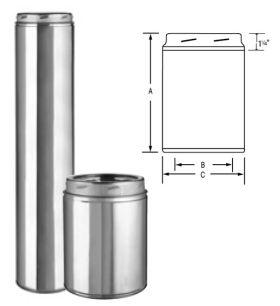 "Selkirk MetalBest 12"" Ultra-Temp 18"" Insulated Pipe Length - 12U-18"