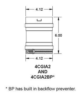 "Metal-Fab Corr/Guard 4"" D Dual Gasket w/ Backflow Preventer - 4CGIA2B"