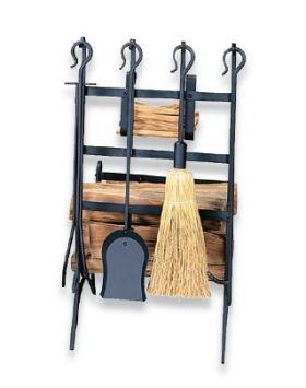 Uniflame Black Log and Kindling Rack with Firetools - W-1246