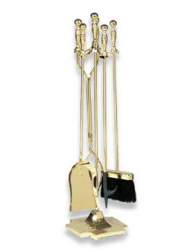 Uniflame 5 Piece Polished Brass Fireset (F-2191) - T51030PB