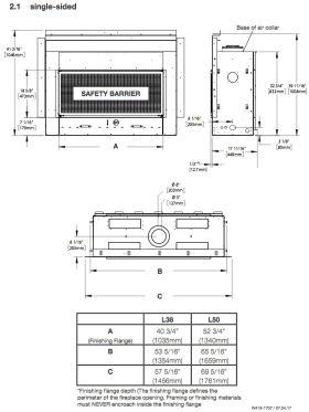 Napoleon Acies L38 - L50 Direct Vent Gas Fireplace Dimensions