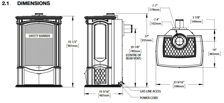 Napoleon The Castlemore Gds26 Black Cast Iron Gas Stove